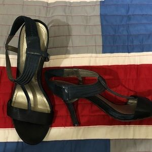 Beautiful Satin and Leather Evening Shoe